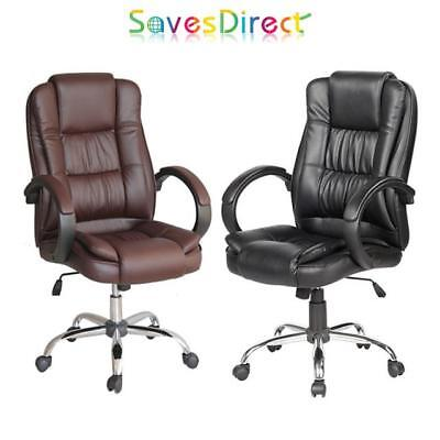 High Back Office Pc Desk Chair Black Or Brown Cushioned Arm Rests Brand New