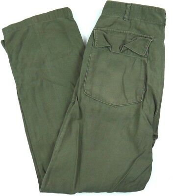 VINTAGE 1970 military OG-107 sateen pants VIETNAM utility trousers mens 32x33*