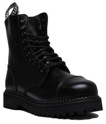 GRINDERS CS Black Unisex 10 Hole Bull Dog Leather Safety Steel Toe Derby Boots