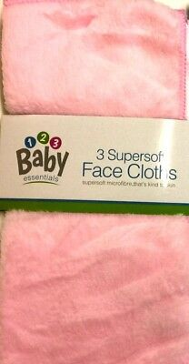 New 3 Pack SUPER SOFT BABY FACE CLOTHS Bath Flannel Wash UK PINK/WHITE