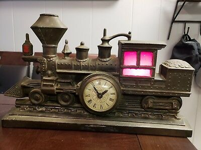 Vintage United Metal Goods Train working electric clock Model 703 Cast Iron