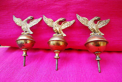 Set Of 3  Vintage Eagle Finials..grandfather Clock Or Vienna.