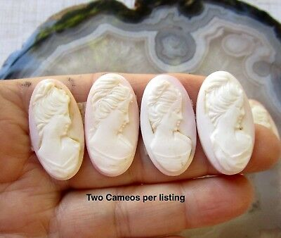 Antique Cameo Pink Conch Shell Cabochon, Hand Carved Italian, Oval 16mm X 30mm,