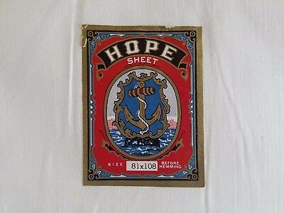 Vintage Antique HOPE Unbleach HIGH TWILL COTTON Full Flat Sheet WWI ~ 81 x 108