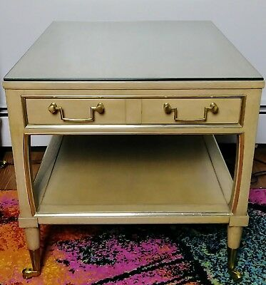 One 1970's Midcentury End Table w/ Wheels, Glass Top, Brass Trim & Drawer