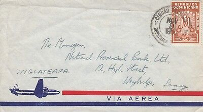 G 2901 Dominican Republic Nov 1960 air cover UK; solo stamp