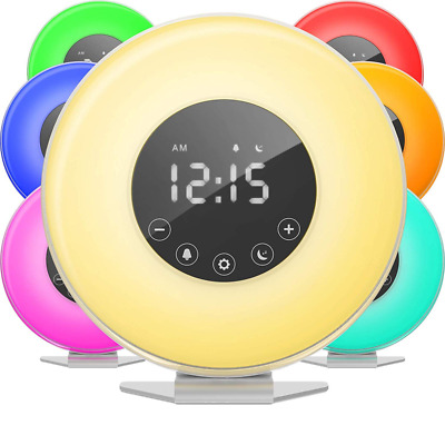 hOmeLabs Sunrise Alarm Clock - Digital LED with 6 Color Switch and FM Radio for