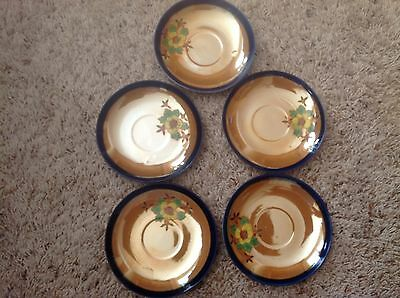 Vintage Seiei & Co Lusterware Hand Painted Made In Japan Saucers