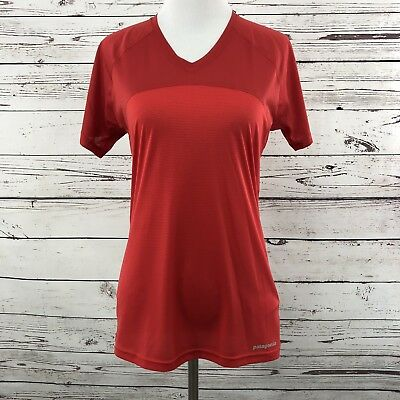 12405554af04b Patagonia Womens Size Small Short Sleeved Windchaser Shirt Running Red New