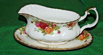 Bargain Royal Albert Old Country Roses Gravy Boat & Under Plate Seconds
