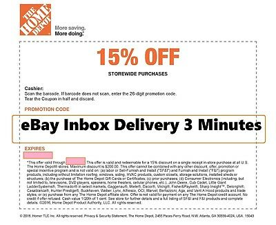 ONE~1x Home Depot 15% OFF  Coupon -Instore ONLY Save up to $200 - Fast_SENT-3Min
