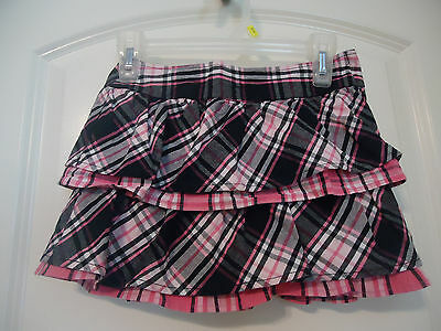 Crazy 8 Size 4 Black & Pink Plaid Skirt Tiered Ruffles 100% cotton