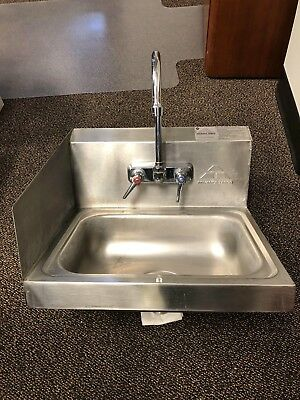 Advance Tabco Hand Sink with Splash Guard Mounted Gooseneck Faucet 17 1/4""