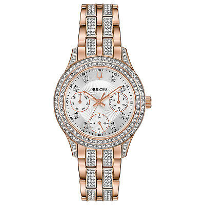 Bulova Women's Quartz Crystal Accents Rose Gold Tone 33mm Watch 98N113