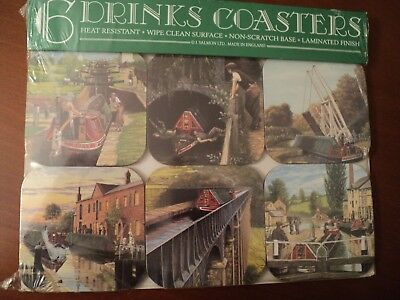 """Vintage Set Of 6 Drink Coasters """"Scenes of English Canal"""" Made In England"""
