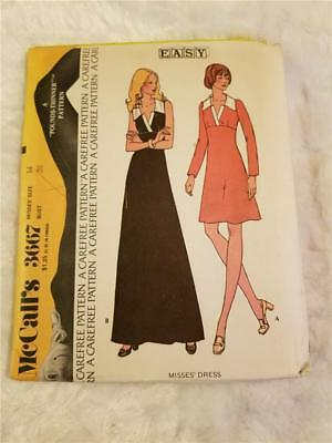 Vintage 1973 McCall's 3667 Misses' Size 14 Bust 36 Collared Dress Sewing Pattern