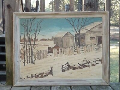 Early 20th century farm, barns landscape oil painting N Guntzmacher