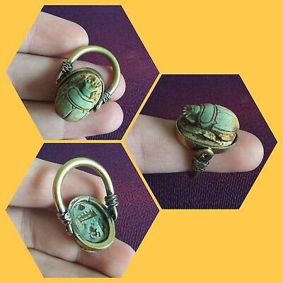 Rare ancient Egyptian bronze blue scarab beetle ring , 300 bc