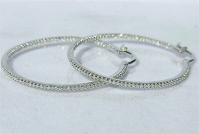 """IN & OUT Diamonds 1ct 14K White, Yellow or Rose Gold Hoop Earrings 1.35"""""""