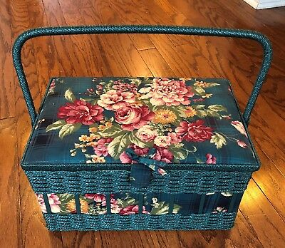 Sewing basket bucket organizer with handle interior storage with removable tray
