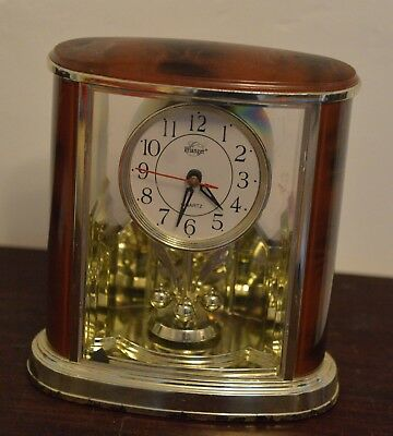 Vintage Erlanger Oscillating Pendulum Plastic Faux Wood Quartz Mantle Clock