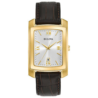 Bulova Men's Quartz Gold Tone Case Brown Leather 31mm Watch 97B162