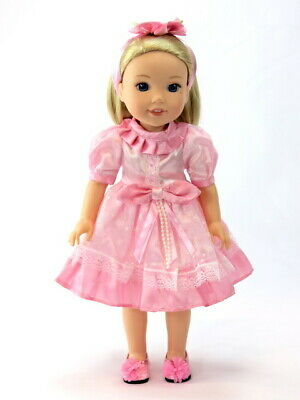 """Doll Clothes Pink Lace Dress & Headband For 14.5"""" American Girl Wellie Wishers"""
