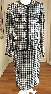 ADRIANNA PAPELL 100% Silk 2 PC Career Lined Skirt Suit Sz 6 Black White Check