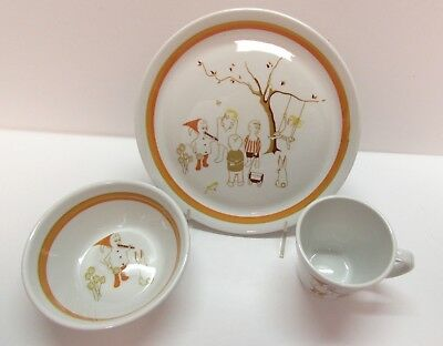Vintage Set Shenango Form China Children's Nursery Rhyme Dishes Plate Bowl Cup