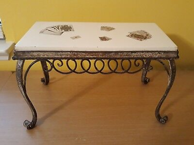 Vintage Cast Iron Czechoslovakia Ceramic Tile Plant Stand Table Playing Cards