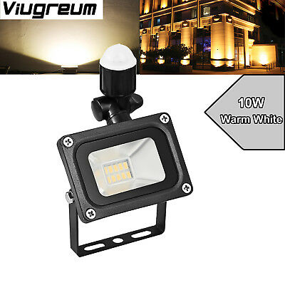 10W 110V LED Floodlight Outdoor Lamp W/PIR Motion Sensor Warm White