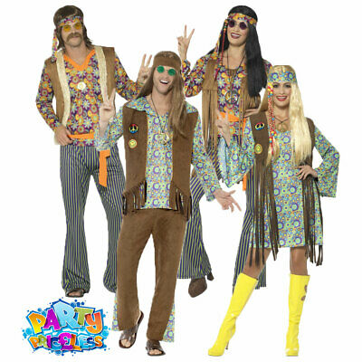 Adults Hippy Costume Hippie 60s 70s Woodstock Groovy Fancy Dress Outfit