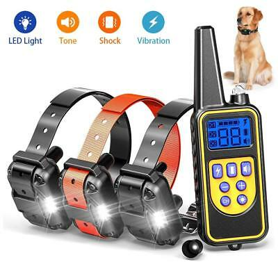Dog Shock Training Collar Remote Control Waterproof Electronic LCD Light 800 m