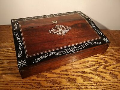 ATTRACTIVE VICTORIAN ROSEWOOD & MOTHER OF PEARL LAP DESK/WRITING SLOPE c.1845
