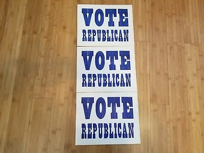 "Lot of (3) Vintage Vote Republican Cardboard signs 9 1/2"" x 12"""