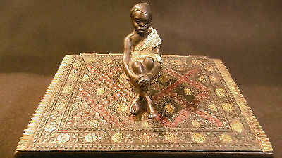 Antique Austrian Vienna White metal Spelter Zinc box with a slave over a carpet