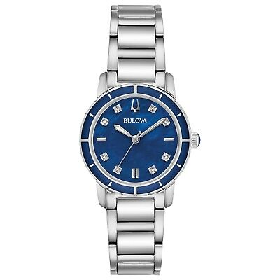 Bulova Women's Diamond Accents Quartz Blue Dial Bracelet 30mm Watch 96P195