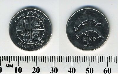 Iceland 2008 - 5 Kronur Nickel Plated Steel Coin - Two dolphins leaping left