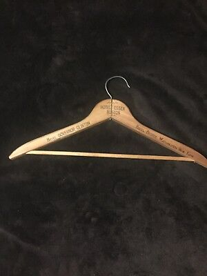 Vintage Wood Advertising Clothes Hanger With 6 Hotel Names Burned Into It