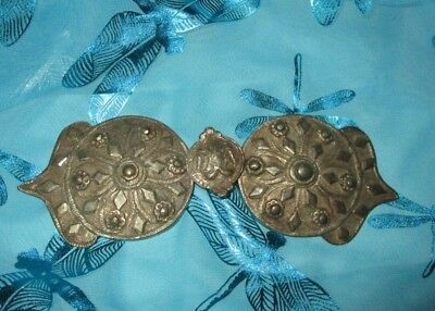 Antique Bulgarian Folk art Belt Buckle Medallion Shield Design
