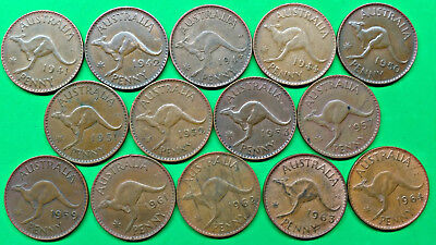 Lot of 14 Different Old Australia Large Penny Coins 1941-1964 Vintage Aussie !!