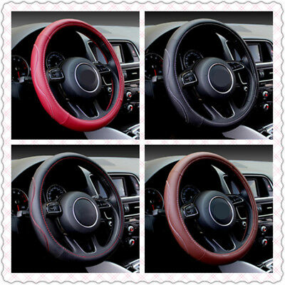 Luxury Sporty Auto Car Steering Wheel Cover PU Leather Universal Size Car Cover~