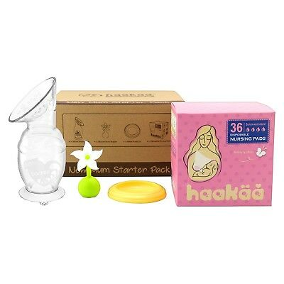 - NEW - Haakaa New Mom Starter Pack - Kit Includes 5oz Breast Pump, Lid, Pads +