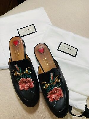 d0a44405bf94 GUCCI PRINCETOWN LEATHER Loafer Mule With Floral Applique 36.5 ...