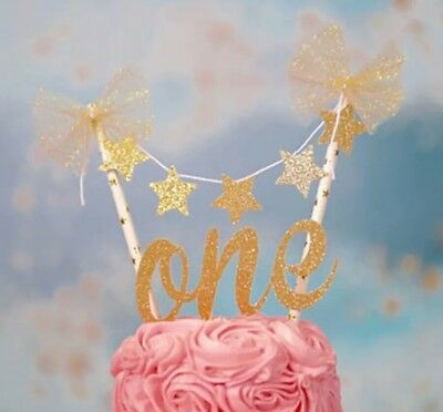 1St Birthday One Gold Glitter Star Bunting Cake Topper 2 Piece Set First Party