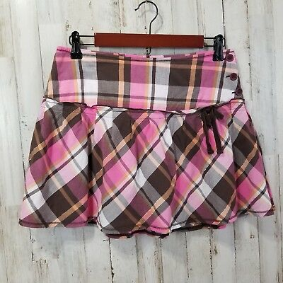 Limited Too Girls Skirt 18 Pink Brown Plaid Ruffle Built in Shorts RK2