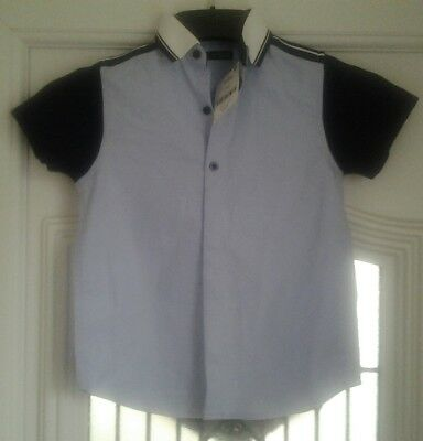 Bnwt Next Blue & White Short Sleeved Shirt Age 6 Years