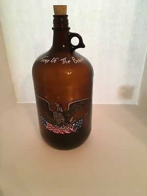 Vintag Glass Amber Brown Home Of The Brave 1 Gallon Jug