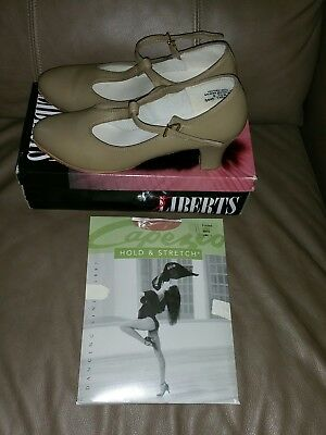 Liberts Tan Character Dance Shoes 8.5 Med GreatCon With Capezio Tights Large New