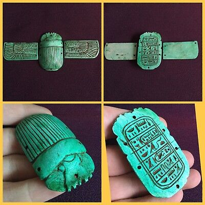 Rare Large Ancient Egyptian Winged Scarab Beetle.with Hieroglyphics 664/332BC